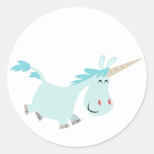 Pegatina azul del unicornio del dibujo animado