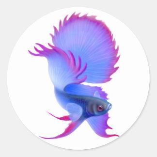 Pegatina azul grande de los pescados de Betta