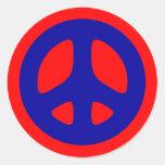 Pegatina azul grande del signo de la paz