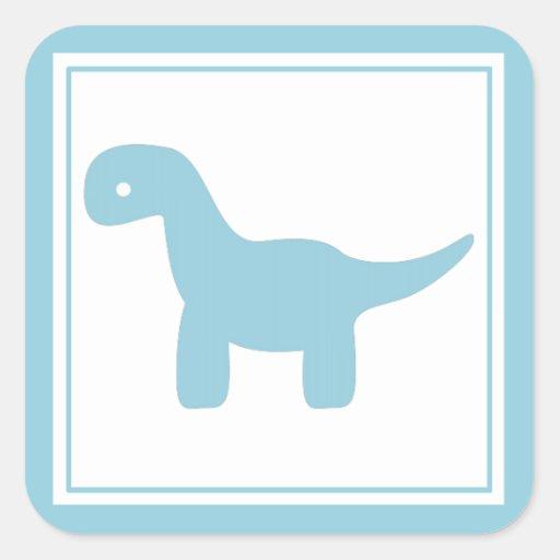 Pegatina azul lindo del dinosaurio