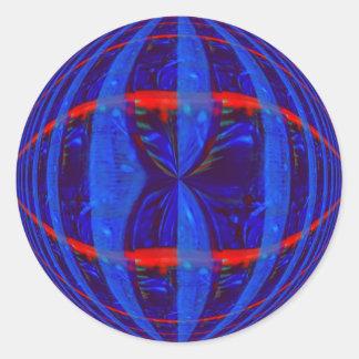 Pegatina azul marino del orbe redondo