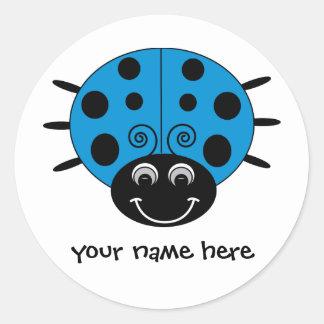 Pegatina azul personalizado de la mariquita
