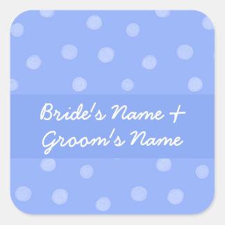 Pegatina azul pintado del cuadrado del boda de los