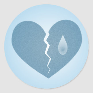 Pegatina azul quebrado del corazón