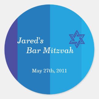 Pegatina azul tonal de Mitzvah de la barra