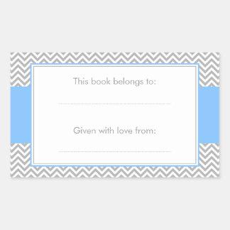 Pegatina azul y gris del Bookplate del modelo de