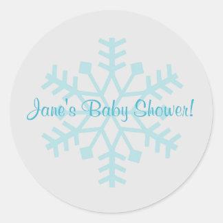 Pegatina azul y gris del copo de nieve