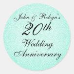 Pegatina azul y negro del aniversario de boda del