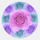 Pegatina azul y púrpura de los rosas