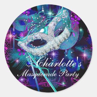 Pegatina azul y púrpura del fiesta de la mascarada