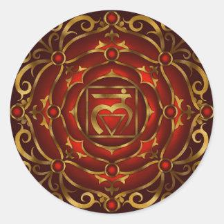 Pegatina bajo de la mandala de Chakra de Raquel C.