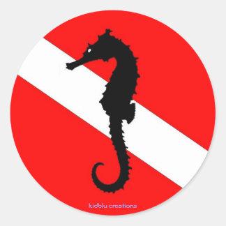 pegatina - bandera de la zambullida del seahorse