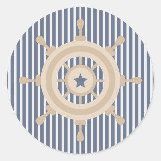 Pegatina blanco azul náutico de la rueda de la