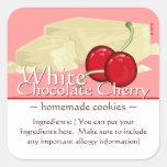 Pegatina blanco cuadrado adaptable de la cereza