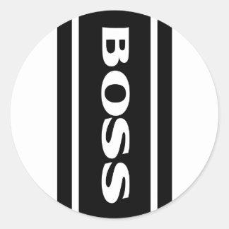 Pegatina blanco de Boss de las rayas de la raza