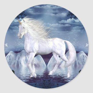 Pegatina blanco de la belleza del unicornio