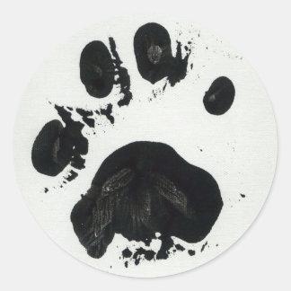 Pegatina blanco de la impresión de la pata del