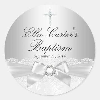 Pegatina blanco del bautismo del cordón y de la
