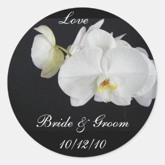 Pegatina blanco del boda de la orquídea