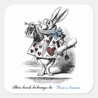 Pegatina blanco del Bookplate del conejo