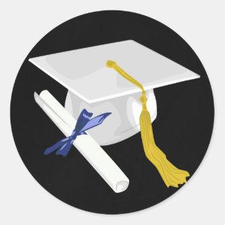 Pegatina blanco del casquillo de la graduación