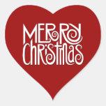 Pegatina blanco del corazón de las Felices Navidad