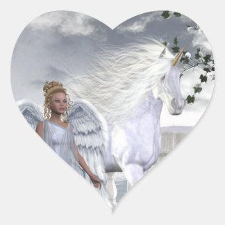 Pegatina blanco del corazón del ángel del