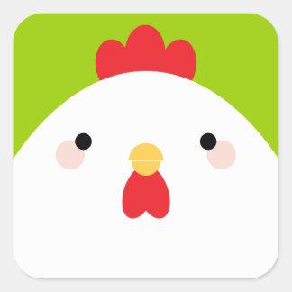Pegatina blanco del cuadrado del pollo
