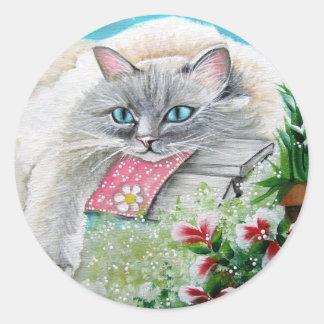 Pegatina blanco del gato siamés