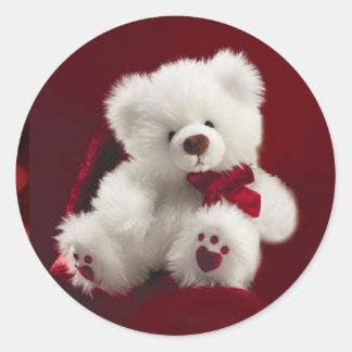 Pegatina blanco del oso de peluche