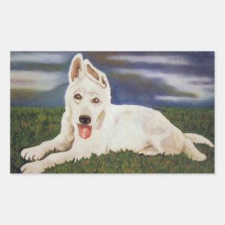 Pegatina blanco del perrito del pastor alemán