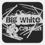 Pegatina blanco grande del esquiador de Canadá