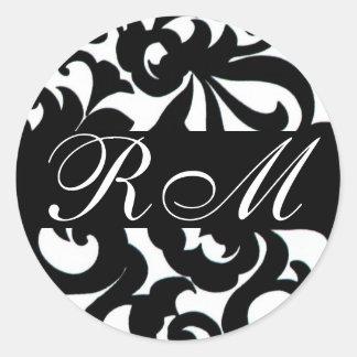 Pegatina blanco negro con monograma