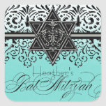 Pegatina blanco negro de Mitzvah del palo de la