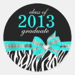Pegatina blanco negro del sello de la graduación