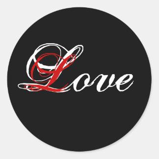 Pegatina blanco, negro, rojo del boda del amor
