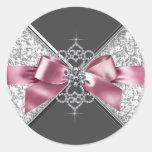 Pegatina blanco negro rosado elegante de los diama