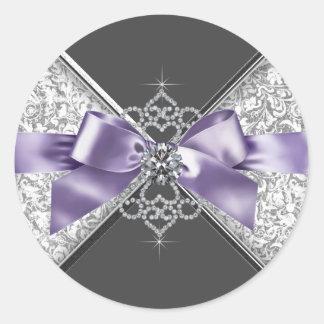 Pegatina blanco púrpura de los diamantes de la