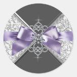 Pegatina blanco púrpura de los diamantes de la lav