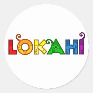 Pegatina blanco redondo de Lokahi del arco iris
