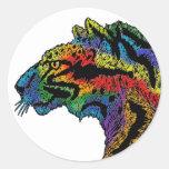 Pegatina blanco redondo del leopardo del arco iris