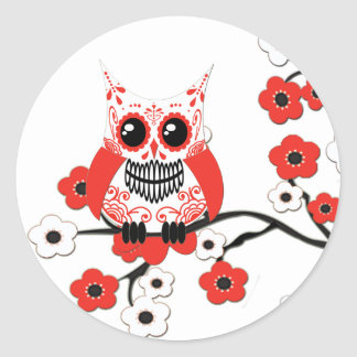 Pegatina blanco rojo del búho de las flores de