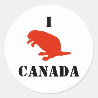 Pegatina blanco rojo del castor del día de Canadá