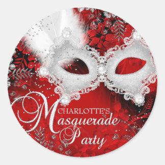 Pegatina blanco rojo del fiesta de la mascarada de
