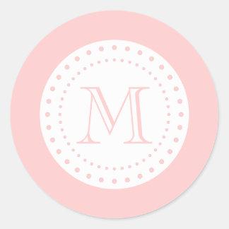 Pegatina blanco rosa claro del monograma