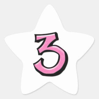 Pegatina blanco rosado de la estrella del número 3