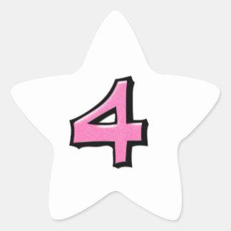 Pegatina blanco rosado de la estrella del número 4