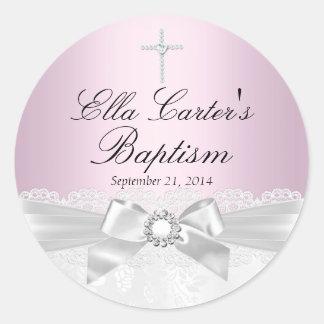 Pegatina blanco rosado del bautismo del cordón y