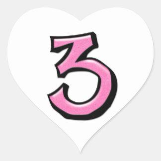 Pegatina blanco rosado del corazón del número 3