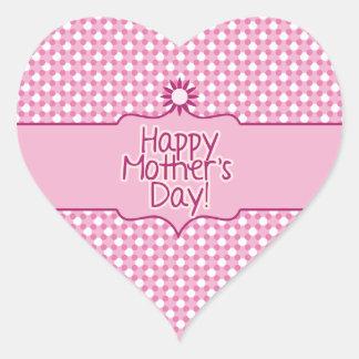 Pegatina blanco rosado del día de madres de la